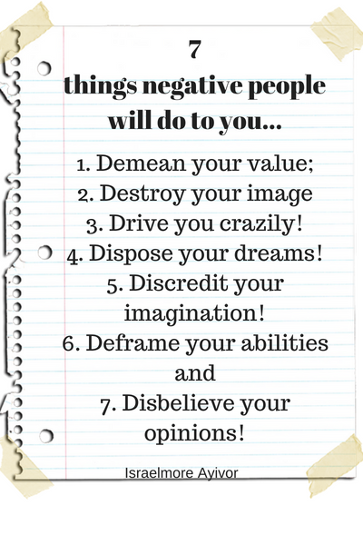 7 things negative do to you