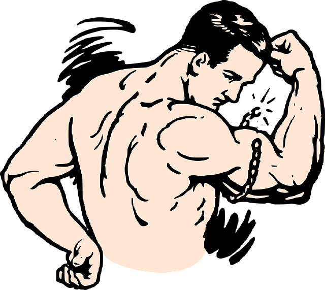 Man with muscles breaking chain around his arm