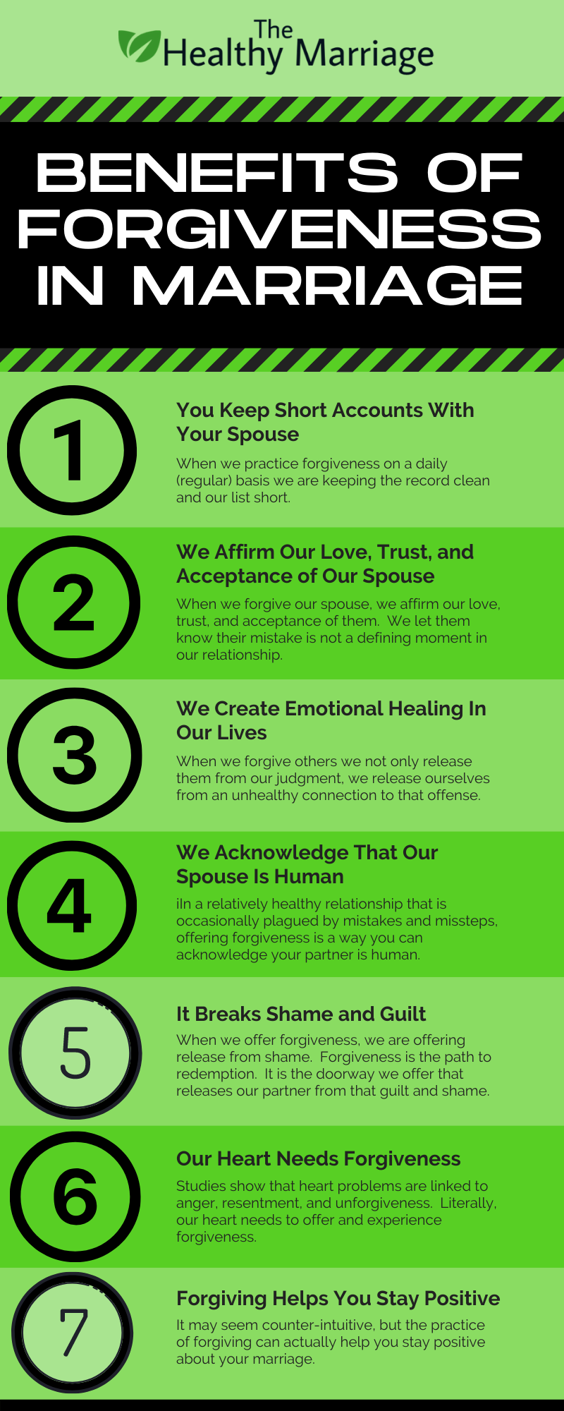Infographic on the 7 benefits of forgiveness in marriage