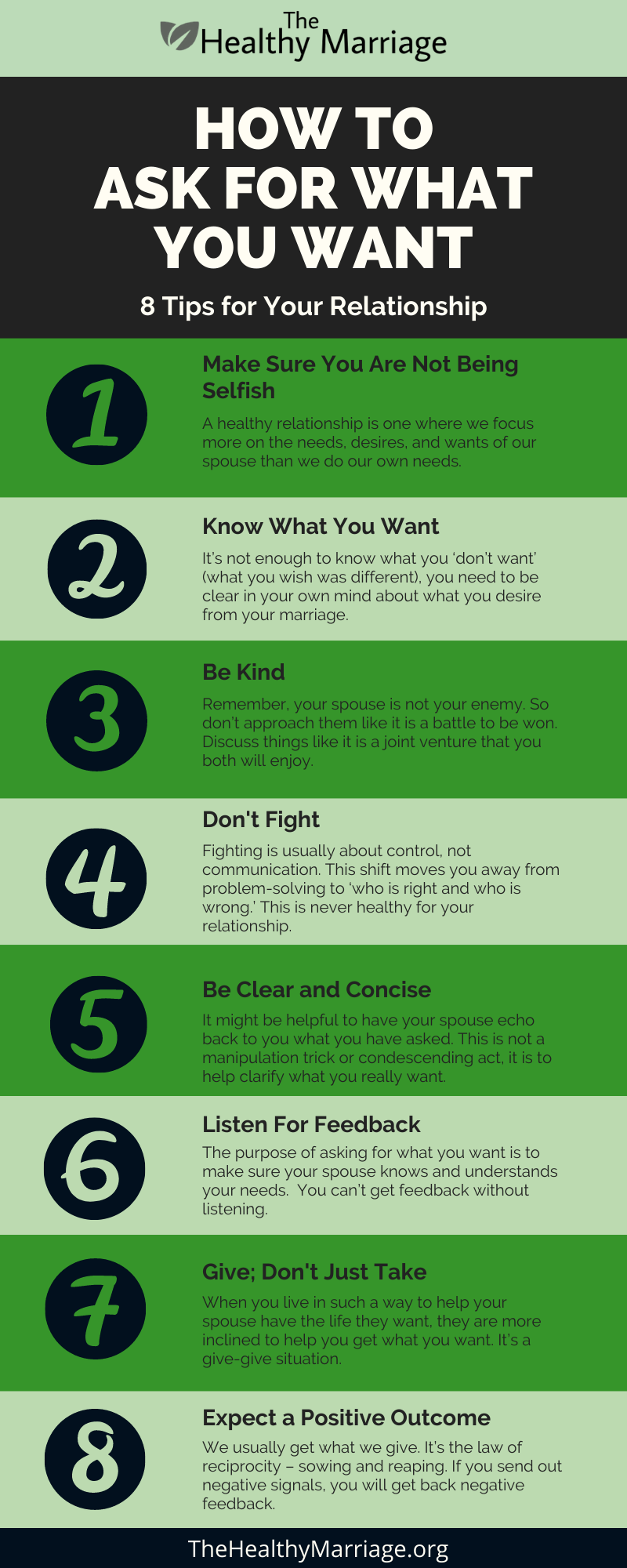 Infographic on 8 tips on how to ask for what you want in a relaitonship