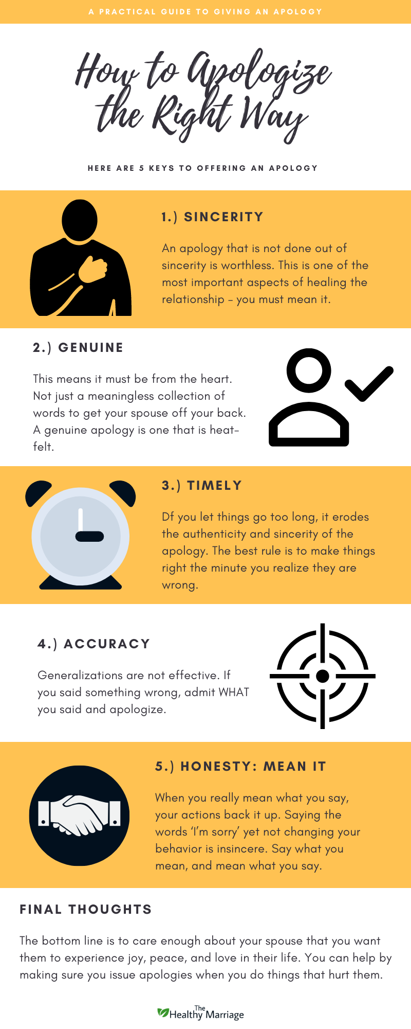 Infographic on 5 keys to remember when you offer an apology