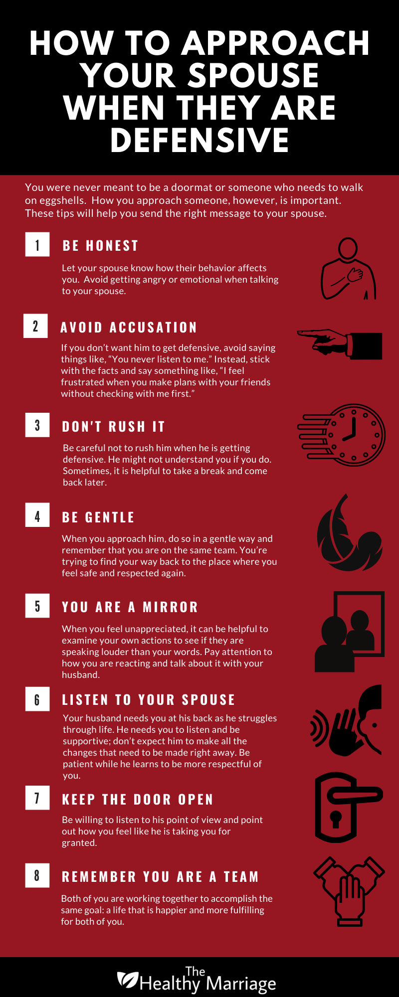 How To Approach Your Spouse When They Are Defensive Infographic