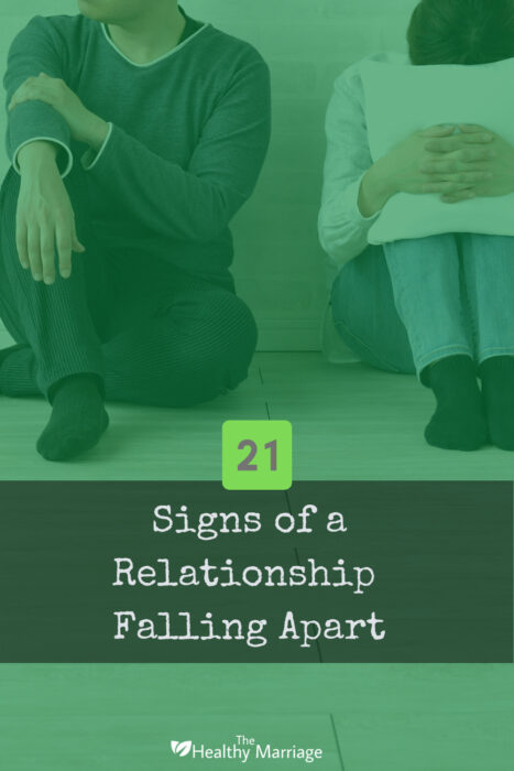Infographic of couple showing signs of a relationship falling apart