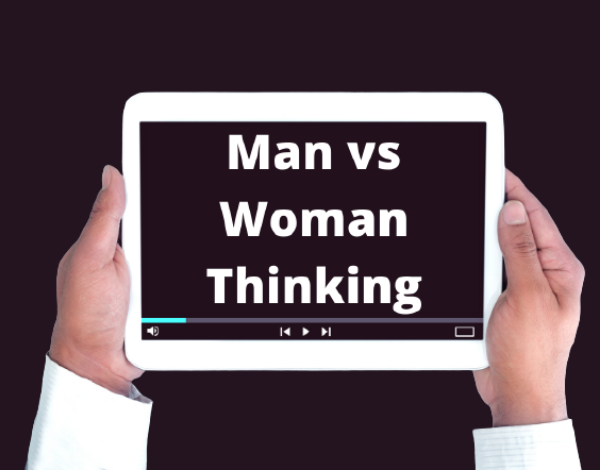 Ipad displaying text man vs woman thinking