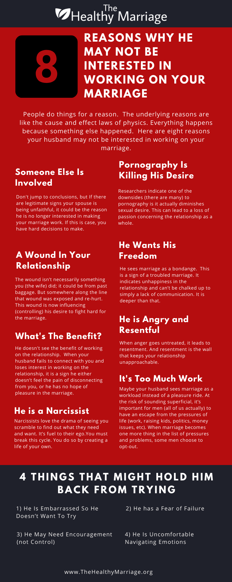 Infographic 8 reasons your husband may be unwilling to work on your marriage