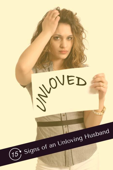 Pinterest Pin of 15 signs of unloving hsuband